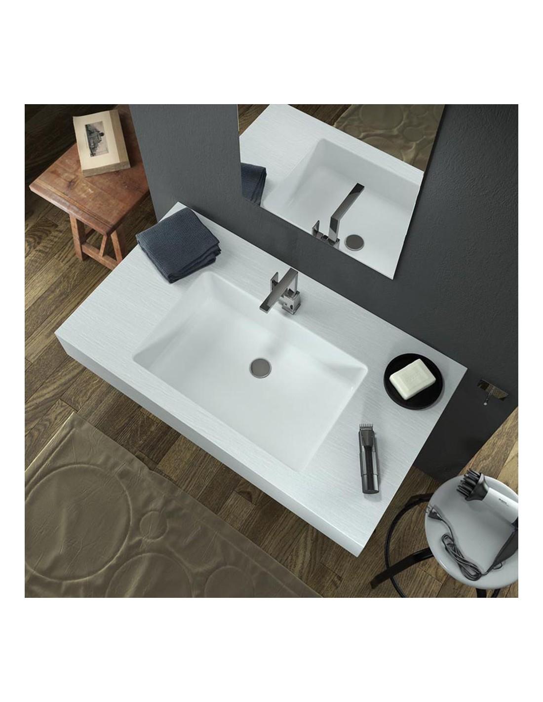 Come Pulire Il Lavabo In Resina lavabo integrato effetto ardesia in resina 70x50 | riveshop