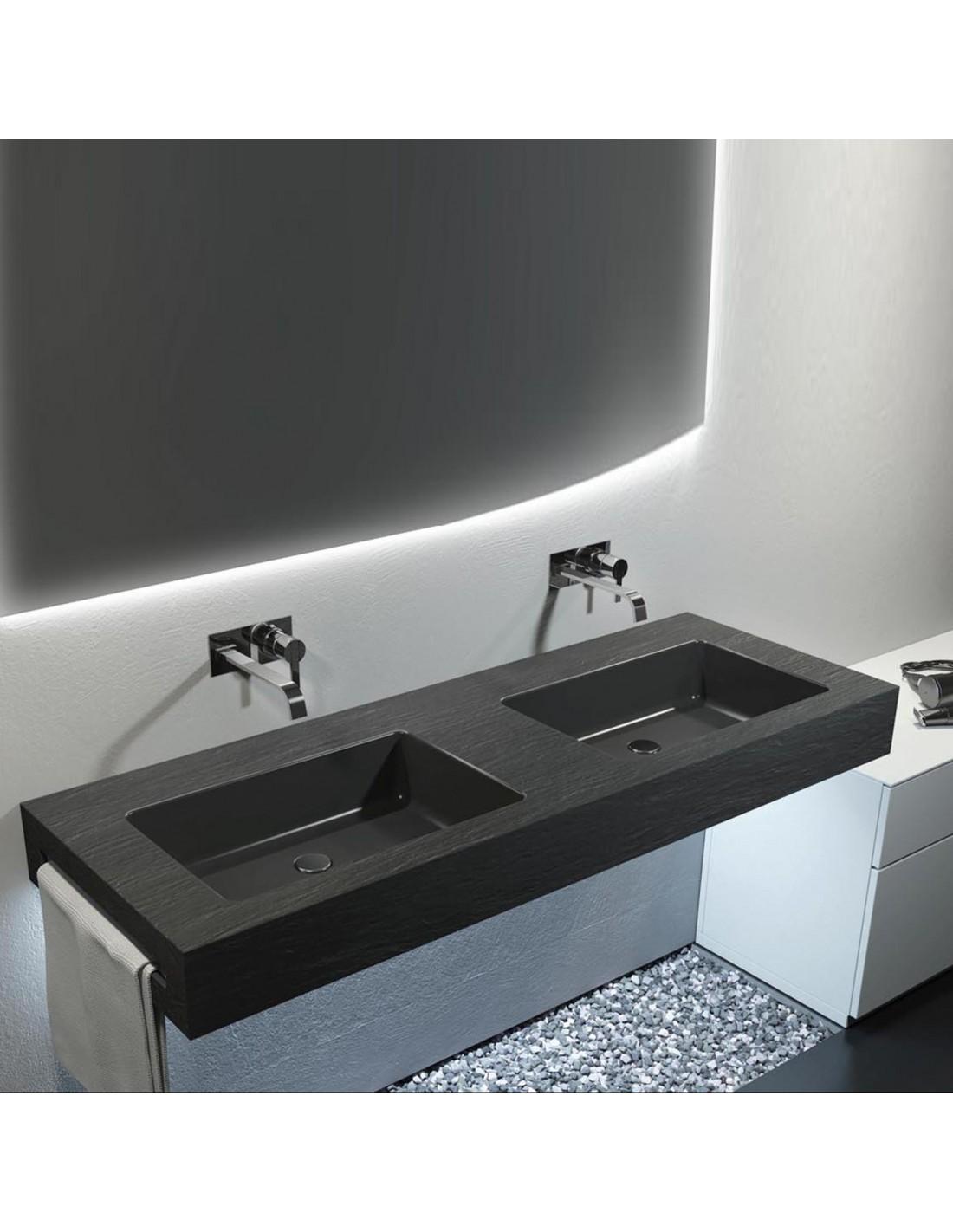 Come Pulire Il Lavabo In Resina lavabo integrato effetto ardesia in resina 100x50 | riveshop