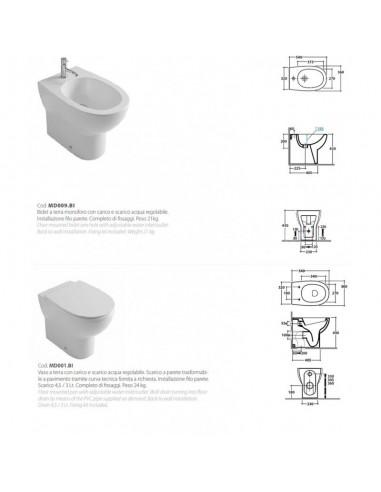 Wc + bidet + coprivaso Ceramica Globo...
